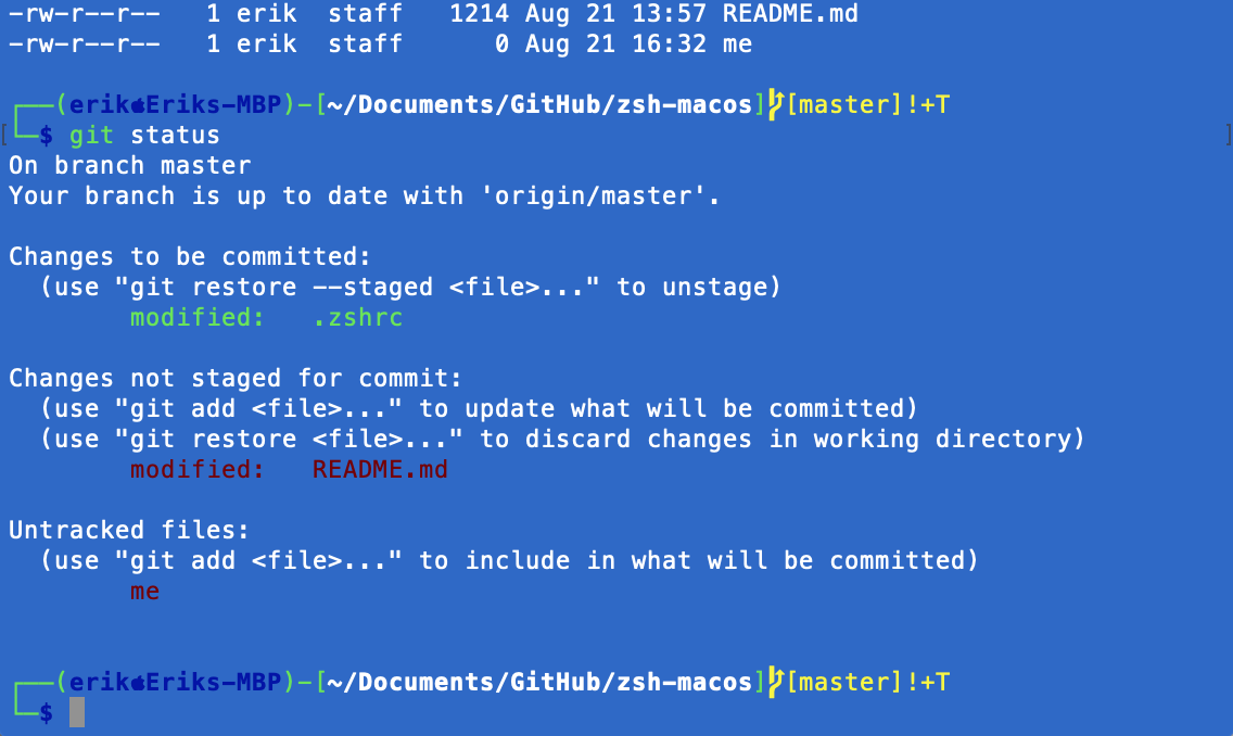 Kali Linux zsh for macos